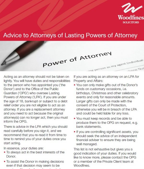 Advice to Attorneys | Woodfines Solicitors
