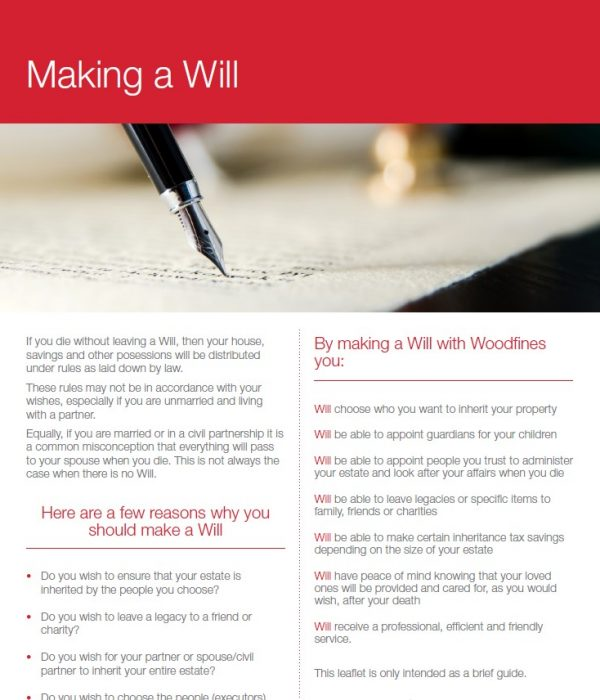 Making a Will | Woodfines Solicitors