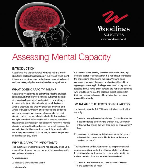 Mental Capacity | Private Client | Woodfines Solicitors